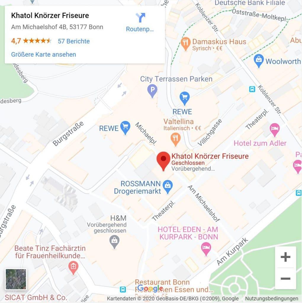 Kartendarstellung von Khatol Knörzer Friseure Bonn - Bad Godesberg in Google Maps